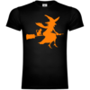 Witch With Cat On Broom T-Shirt