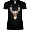 Deer With Flowers Frauen T-Shirt