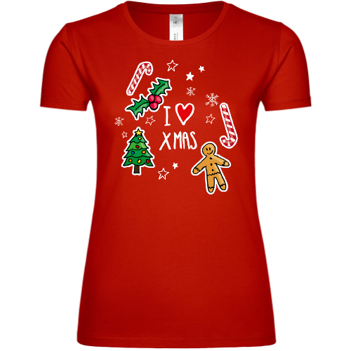 I Love Xmas Cute Frauen T-Shirt