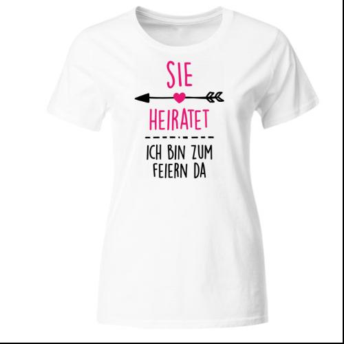 Sie heiratet Junggesellinnenabschied Frauen T-Shirt