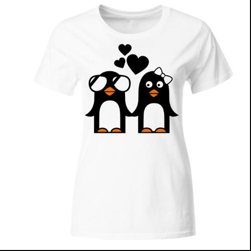 Pinguin Paar Valentinstag Love Frauen T-Shirt